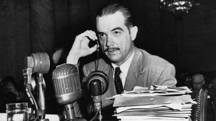 Howard Hughes at a Congressional hearing in 1947.