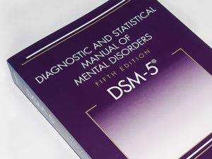 a picture of the front cover of the Diagnostic and Statistical Manual of Mental Disorders (DSM)