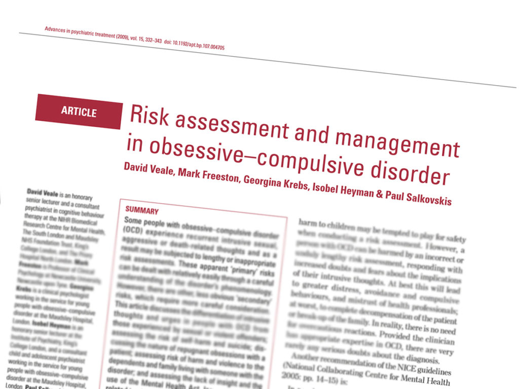 Research Paper: Risk assessment and management in obsessive–compulsive disorder by David Veale, Mark Freeston, Georgina Krebs, Isobel Heyman and Paul Salkovskis