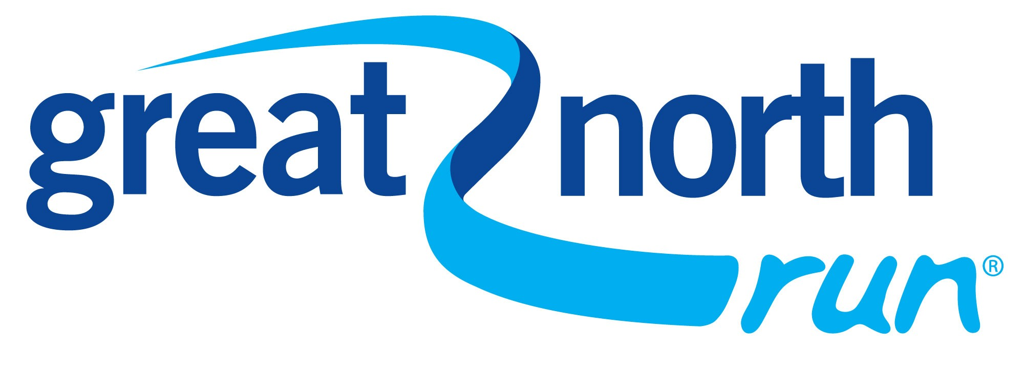 A copy of the Great North Run logo. Great North Run text in blue with a blue swirl through the text.