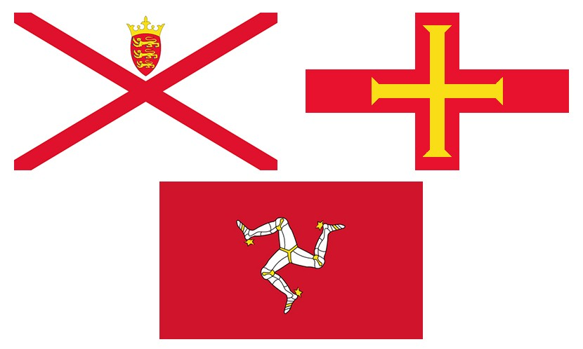 An image of three flags of Jersey, Guernsey and Isle of Man.