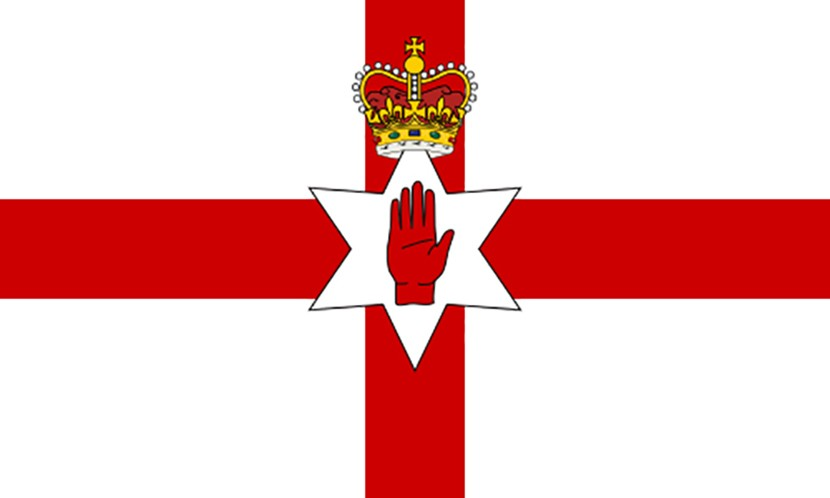 An image of the Ulster flag to represent Northern Ireland