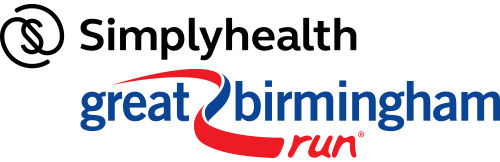 A copy of the Great Birmingham Run logo, blue and purple words with a swirled line through the middle