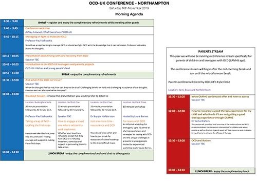 Image shows the layout of the AM conference agenda