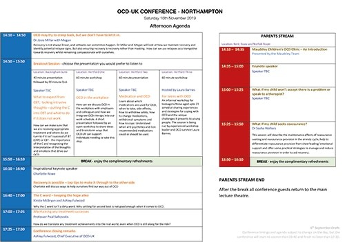 Image shows the layout of the PM conference agenda