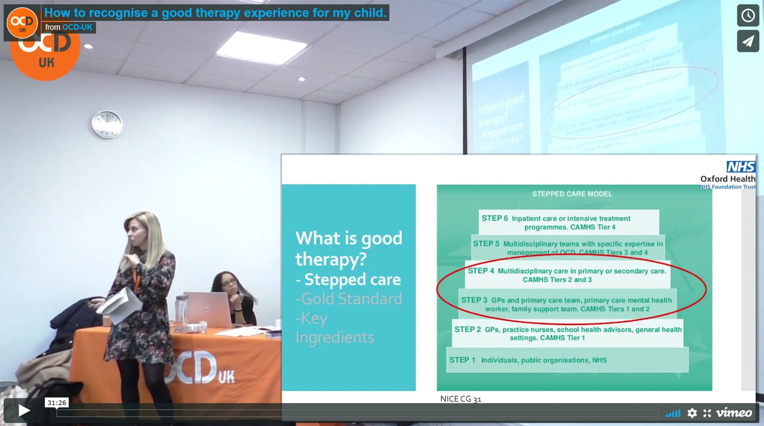 Image shows Sasha Walters talking to the audience at the 2019 OCD-UK conference looking at the projector screen alongside a screenshot of the slide.