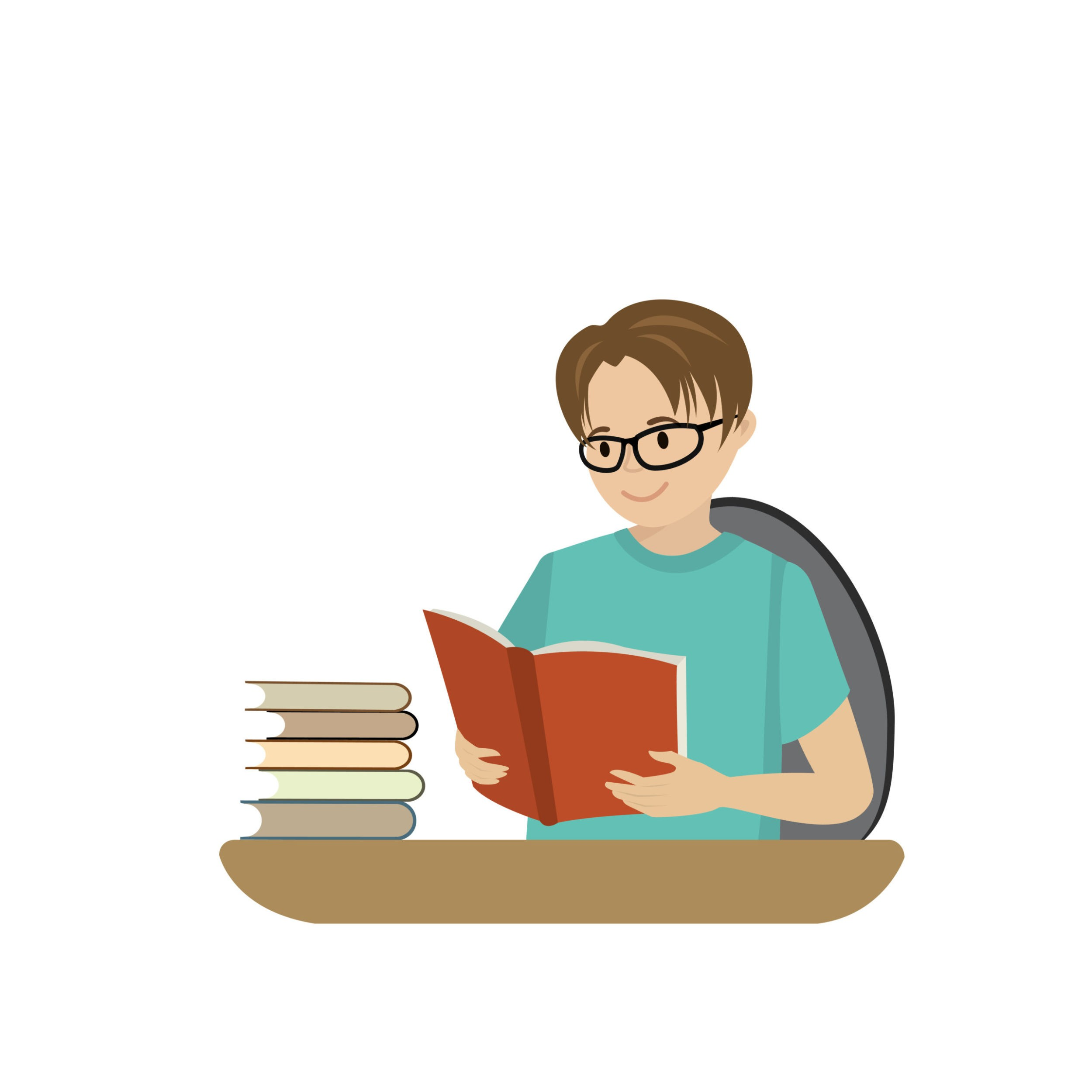 Boy with green shirt  and glasses reading open book.