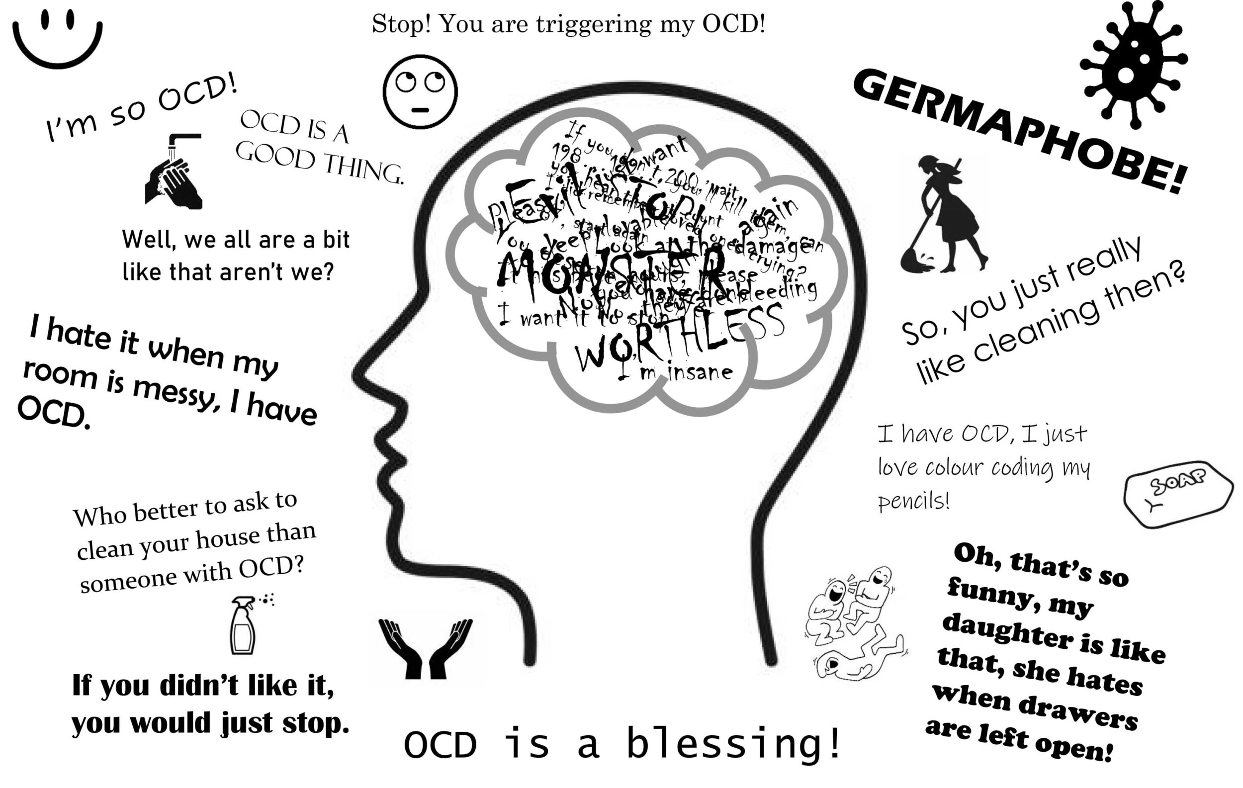 Illustration depicting a head with the negative truths about OCD and outside the head the myths people have about OCD.