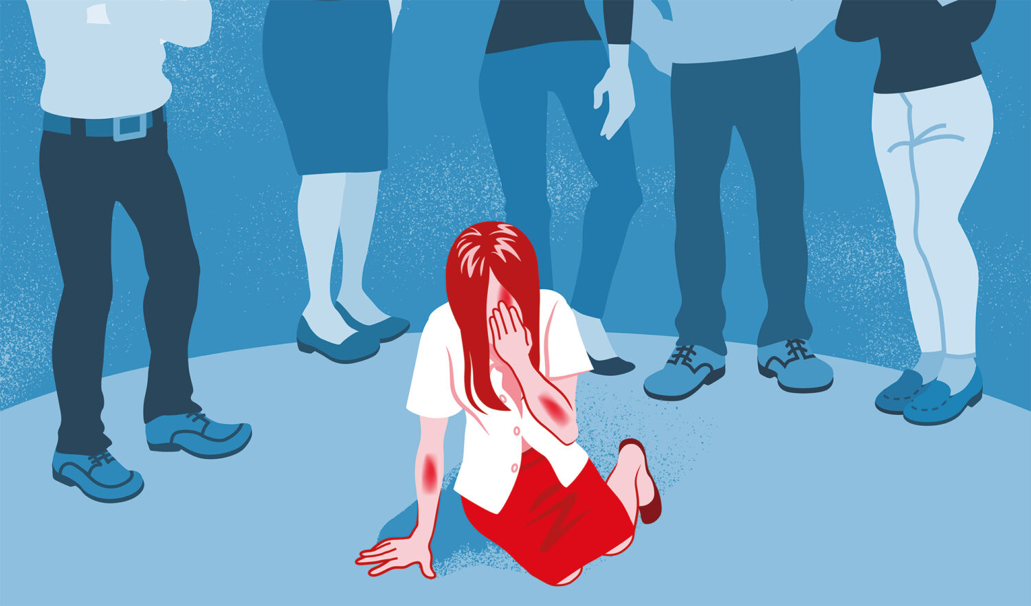 Illustration of a young woman on her knees with head in her hand, illustrated in red and the legs of 5 other people standing behind looking at her, the rest illustrated in blue.